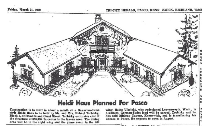 Historic Tri-City Herald article about the Heidi Haus opening in 1969.