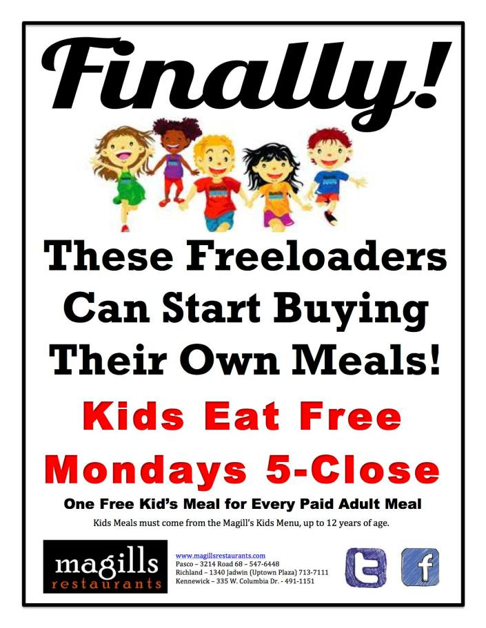 Kids Eat Free Mondays Flyer