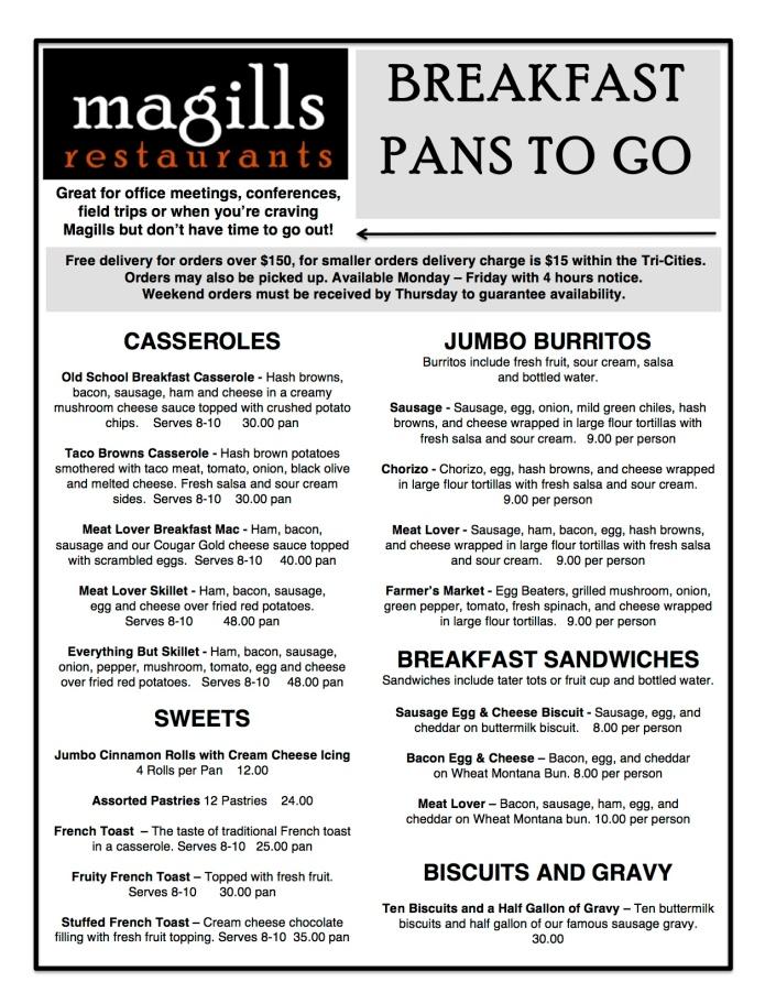 Breakfast Pan Carry Out Menu