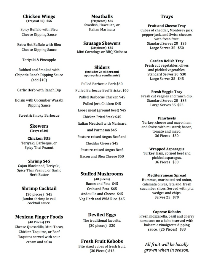 Appetizer Catering Menu F613 pg1