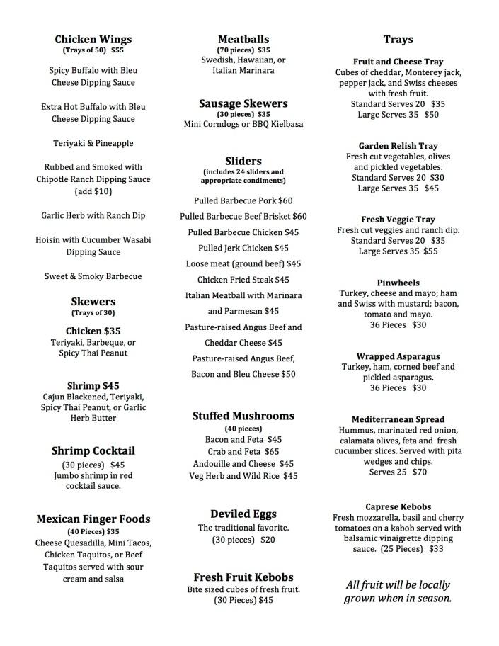 Appetizer Catering Menu F613 pg1