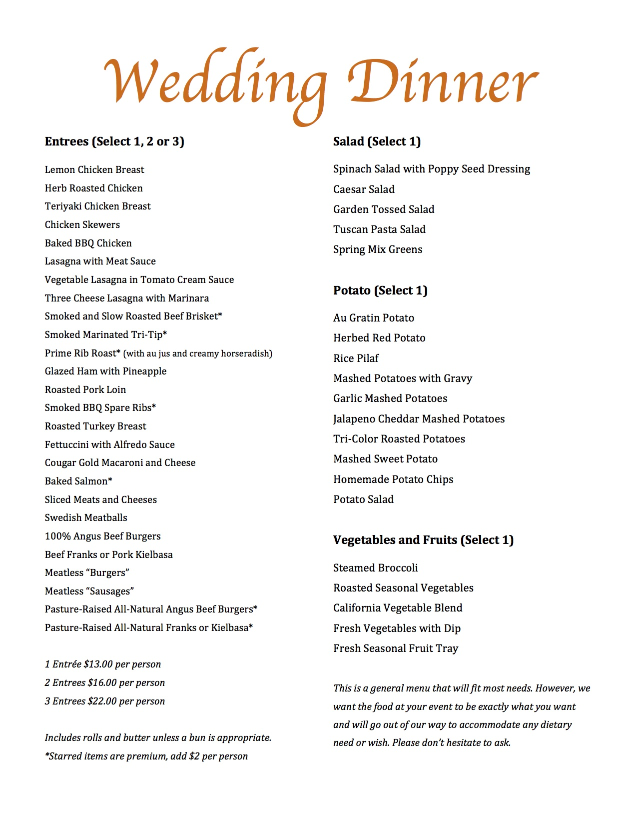 Magills Catering Wedding Menu « Magills Restaurant & Catering
