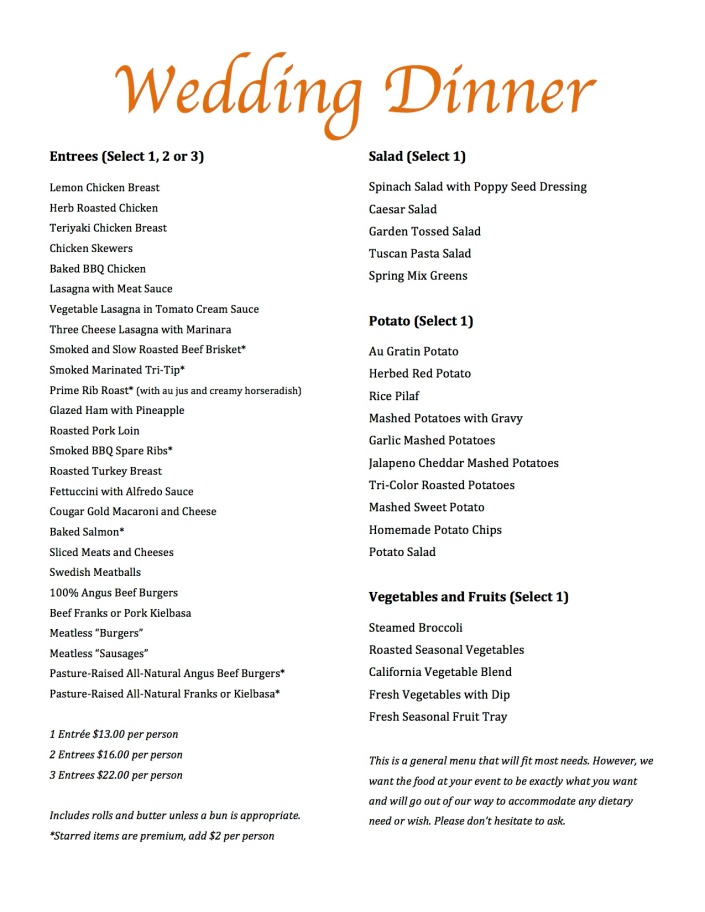 Wedding Catering Menu F613 pg2