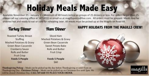 Holiday Meals at Home Made Easy by Magills!